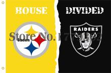 Pittsburgh Steelers Oakland Raiders House Divided Flag 3ft x 5ft Polyester NFL Banner Flying Size 144* 96cm Custom flag(China)