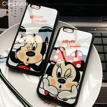 Clespruce Cartoon Lovers Mickey Mouse Minnie cover soft silicon Phone case For iPhone X 8 8plus 7 6 6s plus 5s SE funda Coque(China)