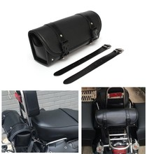 Motorcycle Roll Bag PU Leather Round Barrel Shape Storage Tool Pouch For Harley