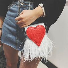Mini Love Heart Chain Bag Women 2017 Custom Models Ostrich Feather Shoulder Tassel Oblique Crossbody Handbag Sweet Cute Clutches