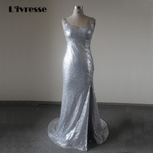 Back See Through Silver Evening Dress Mermaid High Leg Slit Rhinestones Sequined Long Party Formal Dress 2017