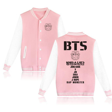 BTS Kpop Bangtan Boys Baseball Uniform Jacket Coat Women Harajuku Sweatshirts Winter Fashion Hip Hop Album Pink Hoodie Outwear(China)