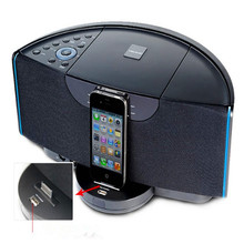 30w dock charging speaker for iphone ipad hifi subwoofer surround with remote control and synchronize video out FM bluetooth