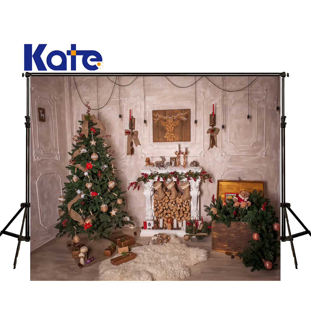 KATE Photography Backdrops Christmas Fireplace Photo Backdrop White Tapete Backdrops Wood Floor Background for Photo Studio<br>