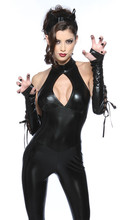 Buy New Adult Womens Sexy Black PU Catwoman Jumpsuit 3 sets Women sexy halloween costume fantasia sexual witch Cosplay