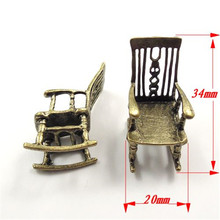 5PCS/Pack Wholesale Antique Style Bronze Tone Alloy Jewelry Accessories Rocking Chair Charms Necklace Pendant 34*20*20mm 31846(China)