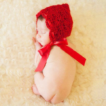 Newborn Baby Girls Red Crochet Adjustable Hat Photography Props Infant Baby Pics Photoshoot in Home Photo Shoot Cute Hat