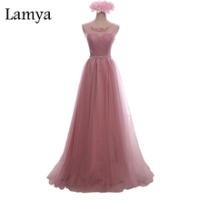 Lamya Crystal Lace Long Prom Dress For Party Elegant A Line Special Occasion Sleeveless Floor Length Lace Up Back Summer Dress(China)
