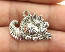 WYSIWYG 5pcs 28*20mm Antique Silver Color Cornucopia Charms(China)