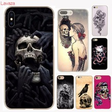 Lavaza flower Skull Lady Man Painted Hard Case Transparent for iphone 4 4s 5c 5s 5 SE 6 6s 6/7/8 plus X for iphone 7 case(China)