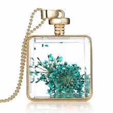 Vintage Square Perfume Glass Wishing Bottle Pendant Crystal Real Flower Healing Double Side Necklace Jewelry Gift Box Pack(China)