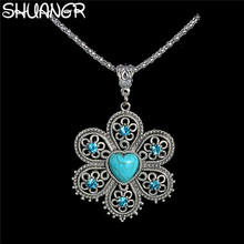 SHUANGR Wholesale Antique Silver Pendant Necklace Crystal Natural Stone Flower Necklace Sweater Chain Ethnic Vintage Accessories
