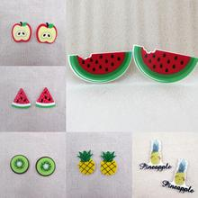 fruit apple Watermelon pineapple kiwi banana flat back planar resin diy holiday decoration crafts accessories 25 piece,25Yc1011