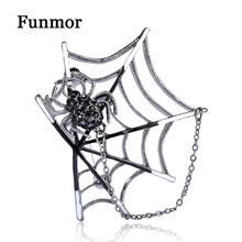 Funmor Enamel Black Spider Brooches Rock Punk Spiders Web Shaped Brooch Corsage Sweater Collar Clip Magnets Animal Broches Pins(China)
