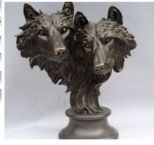 Copper Brass CHINESE crafts decoration Asian   15 Bronze Animal Unity and Brave Two Wolf Head Rare Realistic Sculpture Statue