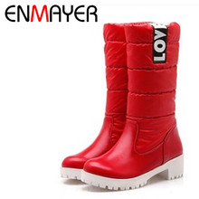 ENMAYER Women Boots High Quality Down Jacket Mid-calf Winter Boots Warm Slip-on Short Plush Boots Square Heel Snow Boots BigSize