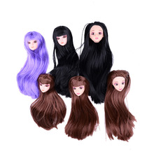 Hot high Quality 3D Eyes Doll Head Long Colorized Straight Hair Doll Head Doll Accessories kids gifts