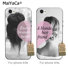 MaiYaCa Transparent TPU Cell Phone case BFF best friends girly For iPhone 4 4s Case(China)