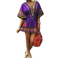 Casual Summer Dress 2016 Robe Boho Indian Tunic African Print Clothing Sundress Hippie Clothes Women Import Clothing China Dress(China)