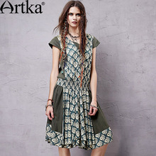 Artka Women's 2017 Summer New V-neck Casual Boho Dress Print Patchwork Short Sleeve Midi One-piece Smock Dress LA14054X 3.25