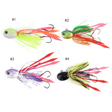 1pcs 3D Eyes Squid Lead Head Fishing Lures Bait With Silicone Skirt Saltwater Fishing Jigs Hook Spinning Bait
