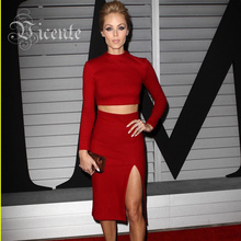 Free Shipping!! Rayon High Quality Christmas Wear Red Party High Neck Long Sleeves Slit Midi Knee Length Bandage Two piece Dress