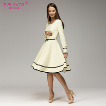 S.FLAVOR Women simple A-line dress 2018 Spring summer O-neck long sleeve knee-length dress Elegnat women casual solid vestidos(China)