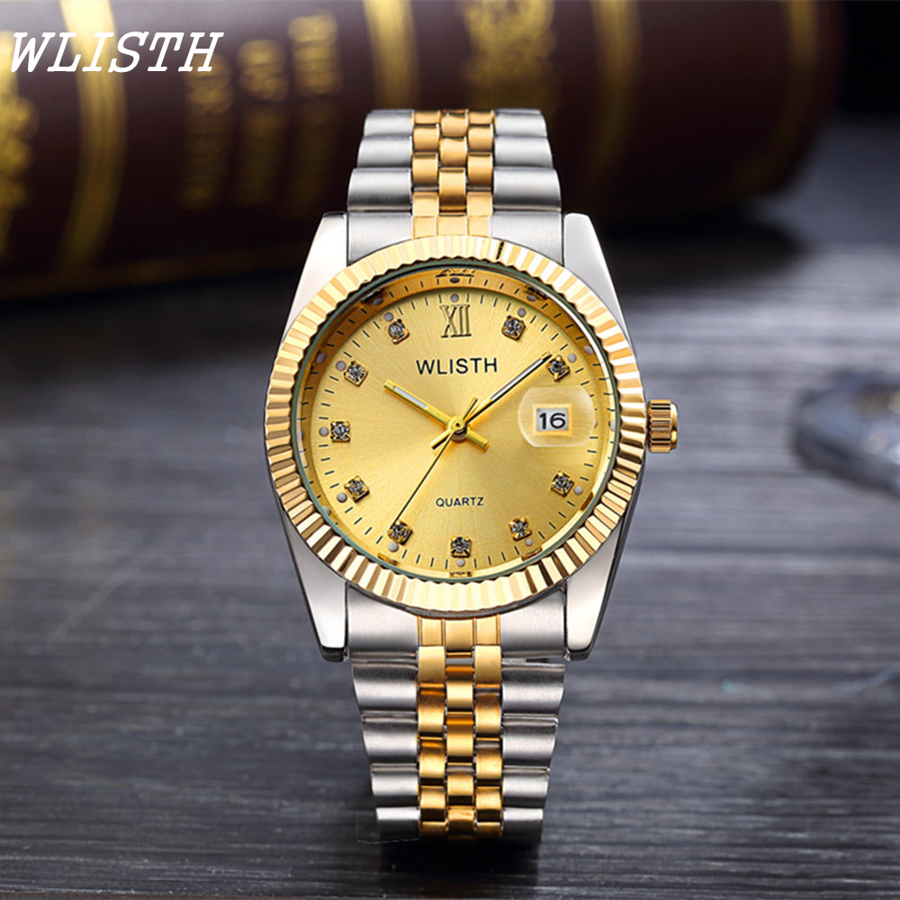 WLISTH Top Brand Luxury Men Quartz Wristwatches Full Stainless Steel Date day Water Resistant Watches for men Montre hommes<br><br>Aliexpress