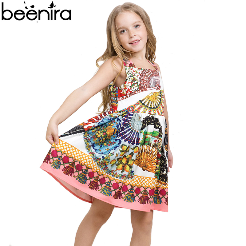 BEENIRA Summer Girls Dress Cotton Fan Printing Peacock Pattern Ball Gown Dresses Baby for Party High Quality 4Y-14Y<br>
