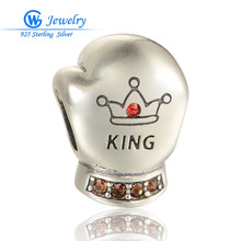 925 sterling silver King Gloves of Boxing beads with Zircon fits for bangle bracelet European style GW  Jewelry X379 H20