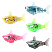 Baby Fish Toys Activated Battery Powered Robot Flashing Shark Toy Interactive Fish Toys for Kid Children Bath Toy(China)