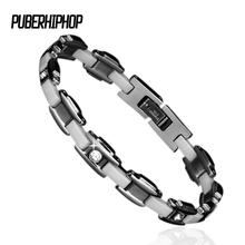 Men Jewelry White Inlay Crystal Ceramic Bracelet Magnetic Energy Germanium Health Chain Charm Bracelet Party Anniversary Gift(China)