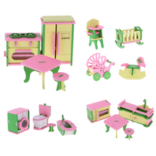4 Pcs/Set Doll House Miniature Bath/Bed/Living Room Wooden Classic Toy Kid Pretend Play Furniture Toys for Child Dolls Accessory(China)