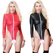 Buy Black Wetlook Catsuit Faux Leather Bodysuit Cat Women Spandex Fetish Zipper Open Crotch Teddy Lingerie Erotic Clubwear Costume