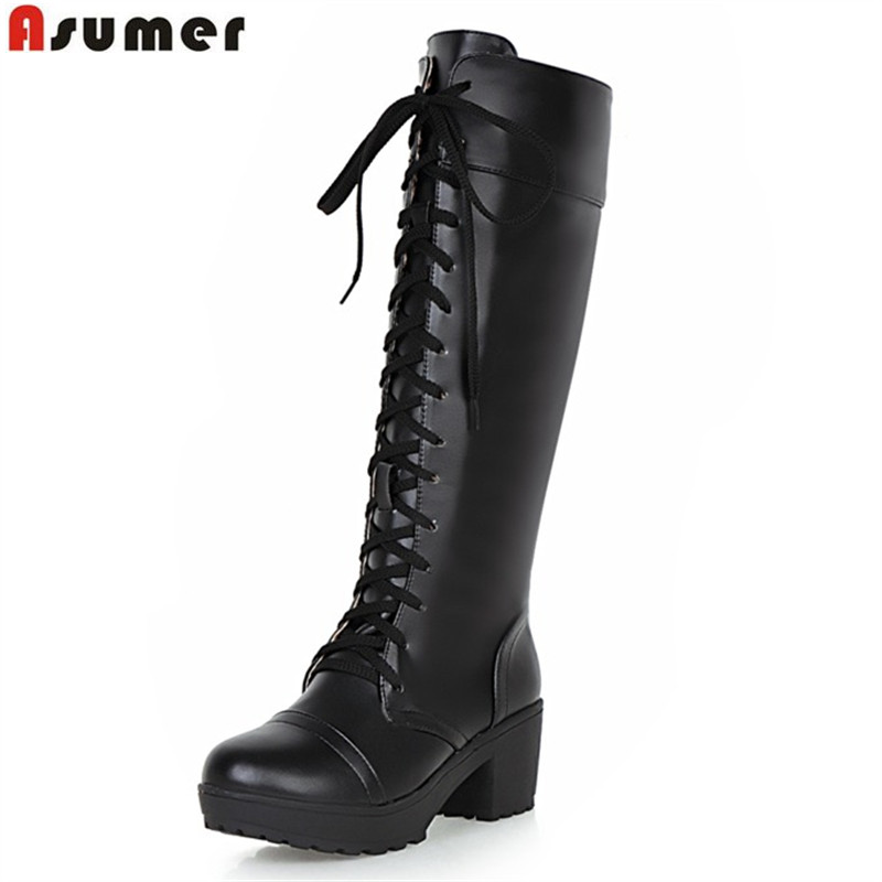 ASUMER big size 33-43 new arrive women boots fahsion black white lace up lady boots high quality pu square heels knee high boots<br>