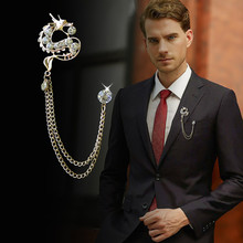 Chinese Culture Dragon With Tassel Rhinestone China Dragon Brooches Men's Suit Pin Zinc Alloy Animal Brooch Pin Women's Jewelry(China)
