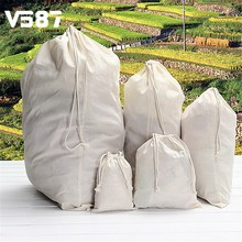 Drawstring Storage Cotton Linen Bag Travel Beam Port Backpack Shoulder Large Capacity Rope Pouches White 5 Sizes(China)