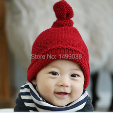 Hot Sale! 2017 Lovely kids baby hat cap for boys girls solid color soft hat thick baby cold cap super pocket hat(China)