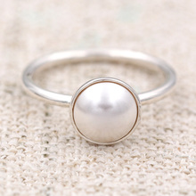 Authentic 925 Sterling Silver Ring Luminous Droplet White Crystal Pearl Ring For Women Wedding Party Gift fit Pan Jewelry(China)