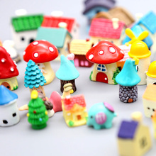 Mini Colorful Resin House Trees Micro Landscape Fairy Garden Decoration Miniature/Terrarium/Dollhouse Figurines DIY Ornaments(China)