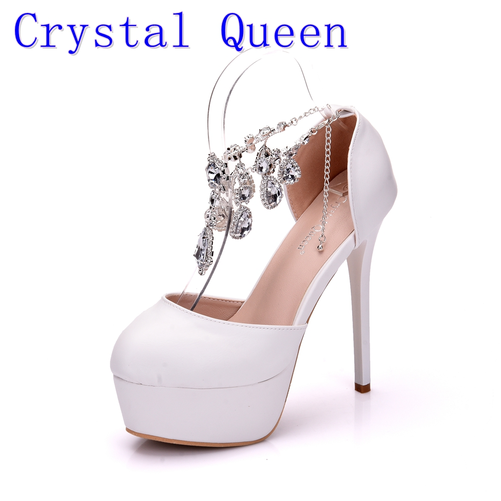 Crystal Queen Fashion Women Pumps White Rhinestone High Heels Dreamlike Crystal Wedding Shoes Party Shoes Christmas Shoes<br>