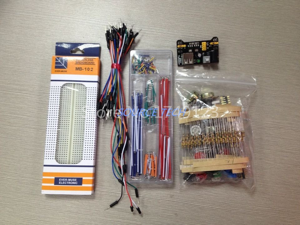 generic parts package For Arduino kit + 3.3V/5V power module+MB-102 830 points Breadboard +65 Flexible cables+ jumper wire box<br><br>Aliexpress