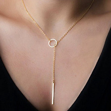 NK547 Punk Women Jewelry Minimalist Tiny Dainty Collier Unique Round Circle Bar Pendant Short Clavicle Necklace For Girl Chain