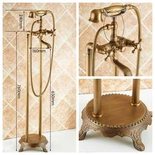 Antique Bronze Flooring Bath Faucet with Hand shower Floor Stand Faucets Bathtub Water Mixer