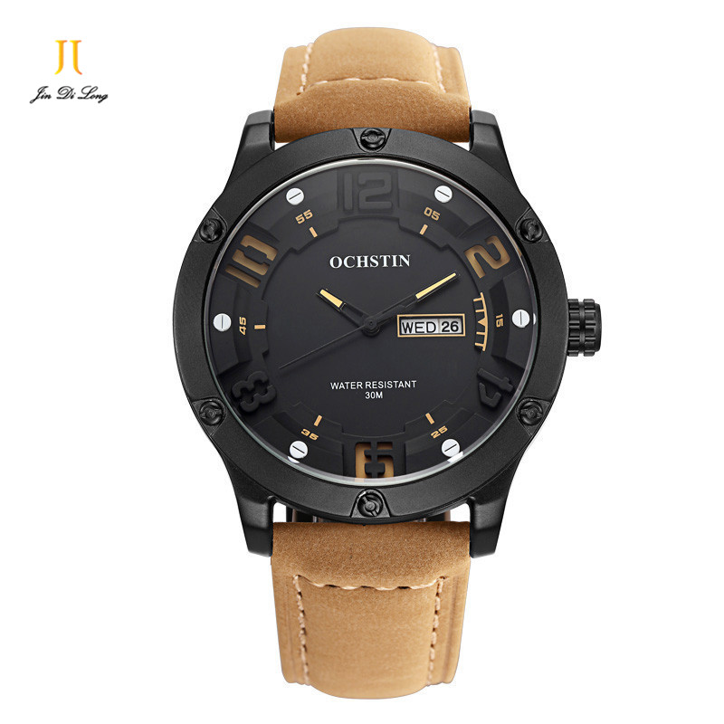 Ochstin fashion leather stop watch man casual luminous brand quartz watches mens wrist watch chronograph hour for male<br>