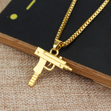 Hip hop long necklace Gold Rose Plated Pistol Uzi Gun Pendants & Necklaces HipHop Gun Necklace for Men Women Party Accessories