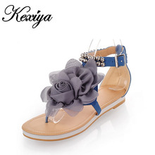 Big Size 31-43 Fashion Women's Shoes sweet style String Bead flats Flower sandals Three colors blue pink beige HXZ-228