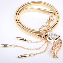Fox Waist Women's Meatl Elastic Chain Belt Fashion All-match Elegant Young Girl Rhinestone Jewelry Gold Belt Woman Free Shipping(China)