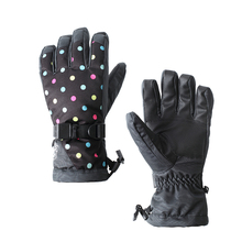 Womens black with dot ski gloves touch screen design female full finger skiing snowboarding riding gloves winter sports gloves