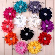 Free Shipping 200pcs fabric flower Rosette kids girls cute lace flower Fabric Chiffon Flower Hair Bow With Brooch Hair Clip